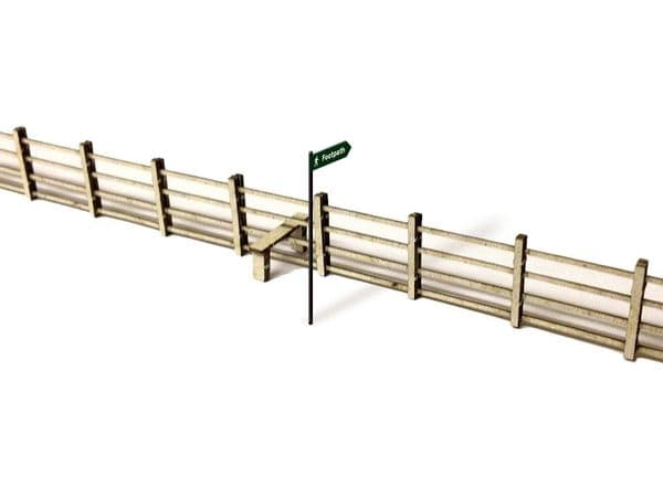 LX006-OO Laser Cut 4ft Post & Rail Lineside Fencing OO/4mm/1:76